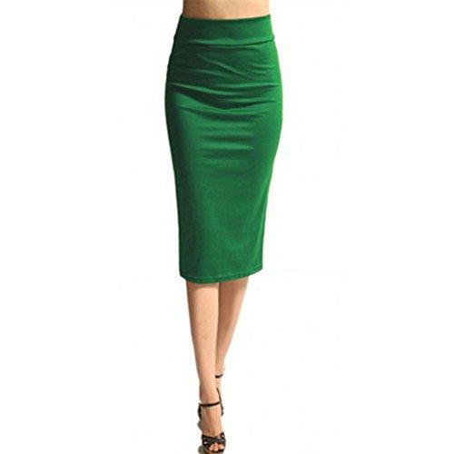 WintCO Faldas Midi Mujer Falda Lápiz hasta la Rodilla Elegante para Negocios Oficina Trabajo Negro Azul Rojo Morado Verde Verde