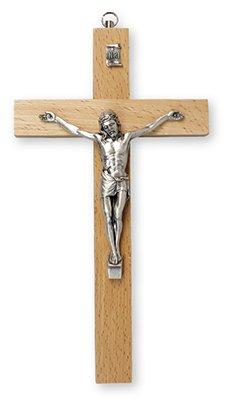 20cm Décoration murale à suspendre en forme de poire bois Croix avec crucifix en métal argenté CORPUS et double cœur Amour Broche Ol10576 CbC CMH