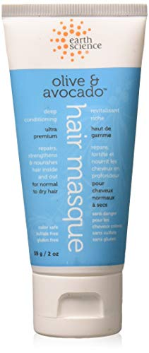 Earth Science Travel Size Olive & Avocado Hair Masque deep conditioner- color safe, sulfate free, 2 ()