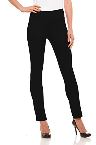 (Velucci Womens Straight Leg Dress Pants - Stretch Slim Fit Pull On Style, Black-S)