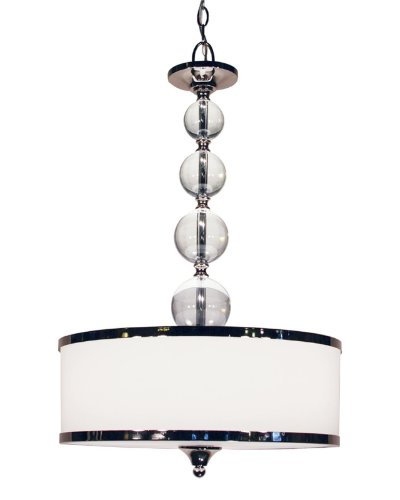 Z-Lite 307P-CH Cosmopolitan Three Light Pendant, Metal Frame, Chrome Finish and White Shade of Glass Material