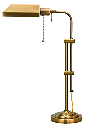 cy 1 Light Pedestal Base Table Lamp (Antique Brass Pharmacy Desk Lamp)
