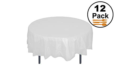 (12-Pack Premium Plastic Tablecloth 84in. Round Table Cover - White)