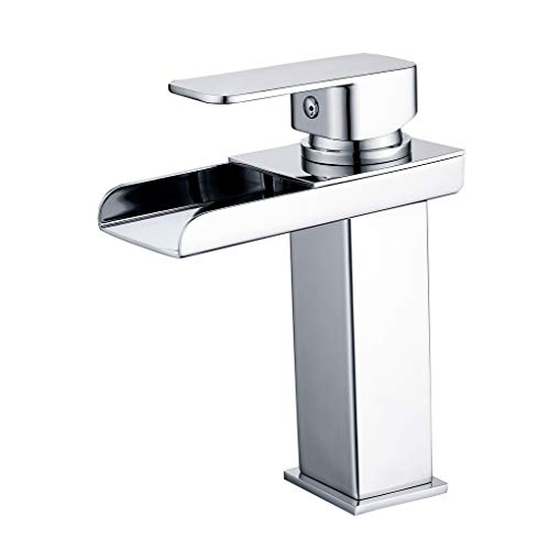 - Charmingwater Widespread Waterfall Bathroom Faucet -One Hole & Single Handle- Chrome Finish