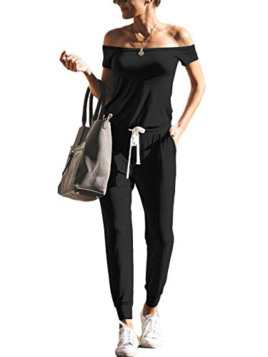 ANRABESS Women's Jumpsuits Sexy Off Shoulder Short Sleeve Elastic Waist Beam Foot Summer Casual Romper Jumpsuit with Pockets
