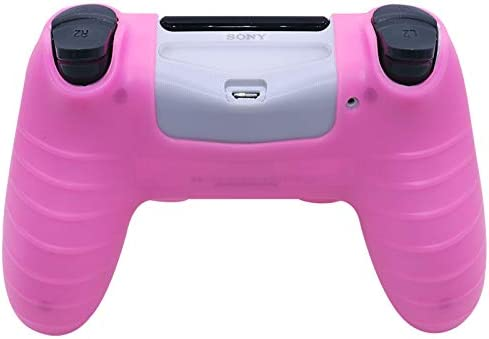 PINK PS4 CONTROLLER SKINS RALAN,SILICONE CONTROLLER COVER SKIN PROTECTOR COMPATIBLE /PS4 SLIM/PS4 PRO CONTROLLER (PINK PRO THUMB GRIP X 6, SKULL CAP COVER GRIP X 2)(PINK+ROSE RED)