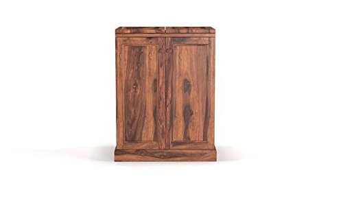 Rajputana Solid Wood Home Bar Furniture Bar Unit in Teak Finish Sheesham Wood by Made Wood