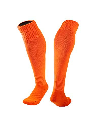 uxcell® Men Compression Cushion Knee High Socks Letters Prints Cotton 1 Pair Orange