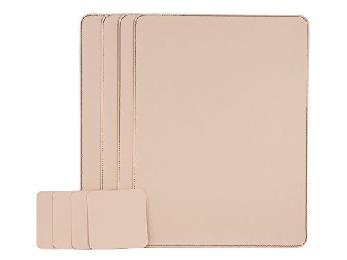 Nikalaz Set of Creamy White Placemats and Coasters, 4 Table Mats and 4 Coasters, Italian Recycled Leather, Place Mats 15.7'' x 11.8'' and Coasters 3.9'' x 3.9'', Dining table set by Nikalaz