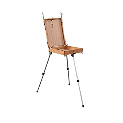 Hong Jie Yuan Easel - Wooden Portable Sketch Oil Painting Box Out of The Sketch Box Folding Shelf Aluminum Legs Multi-Purpose Painting Art Toolbox Can Be Raised and Lowered Easel - Easy to Assemble