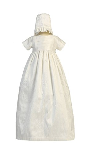 - Silk Heirloom Gown with Two Hats (Boy and Girl) Christening Baptism Special Occasion Family Outfit with Two Matching Hats - M (6-12 Month, 13-17 lbs)