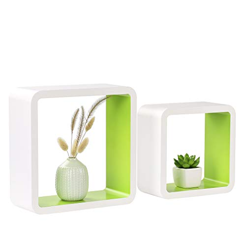 Homewell Set of 2 Cube Floating Shelves, Wood Wall Shelves for Home Decoration, Storage Display Rack, White+Green.