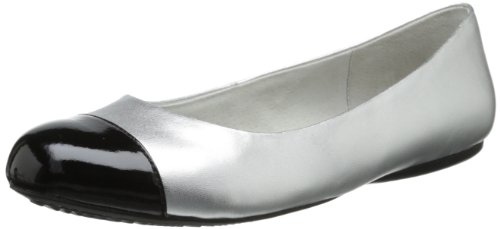 SoftWalk Womens Napa Ballet Flat Silver Black