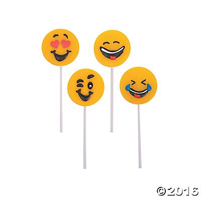 Emoji Face Suckers Lollipop Favors 12 count