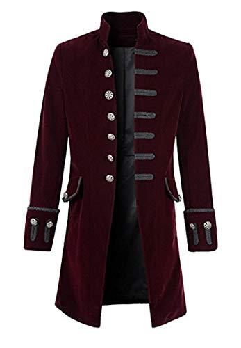 (Setwell Long Blazer Velvet Men Suit Handsome Wedding Tuxedo for Best Man Groom Burgundy)