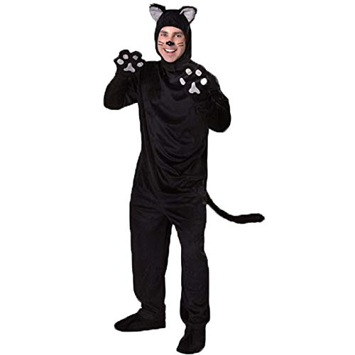 Halloween Adult Black Cat Costume for Men Women Cosplay Costumes Attached Cuddly Animal Costume Stage Performance Clothing (Men, M) -