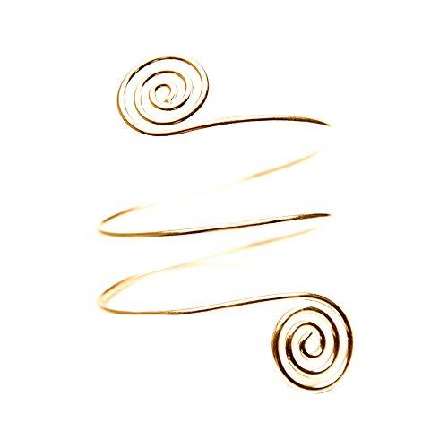 - Islandse Fashion Punk Egypt Bar Curve Geo Open Upper Arm Cuff Armlet Armband Bangle Bracelet Gift (Gold)