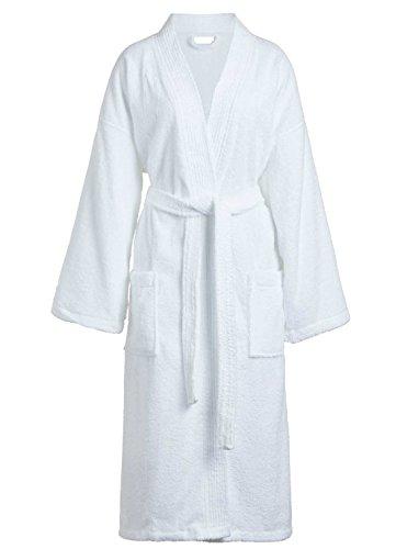 Goza Towels Unisex Kimono Bathrobe Cotton Terry Cloth Robe (One Size, White)