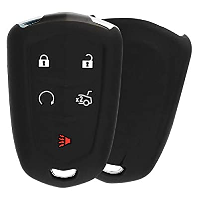 KeyGuardz Keyless Entry Remote Car Smart Key Fob Outer Shell Cover Soft Rubber Protective Case for Cadillac ATS CTS SRX XTS HYQ2AB: Automotive