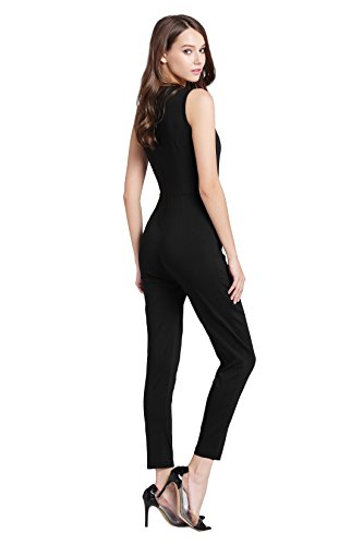 33bf638b75c9 Elegant Damen Jumpsuit mit Spitze Lang Hosen Rundhals Ausschnitt Ärmellos    Kurzarm-Modelle Frauen Overall ...