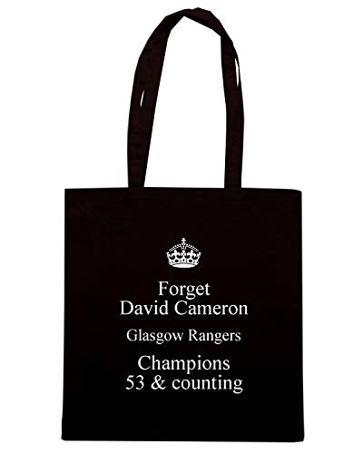 Speed Shirt Borsa Shopper Nera TKC3754 FORGET DAVID CAMERON GLASGOW RANGERS CHAMPIONS 53 & COUNTING