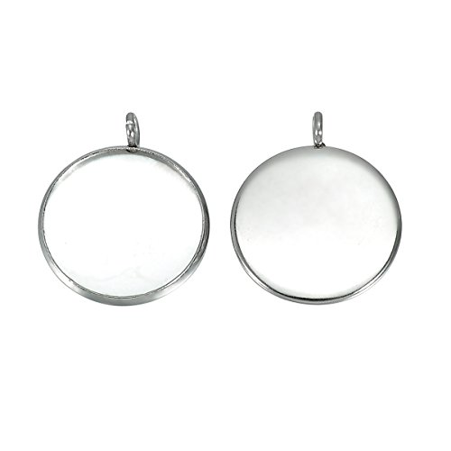 20mm Round Pendant (HooAMI 20pcs Silver Tone Round Pendant Trays Pendant Blanks Cameo Bezel Settings Photo Jewelry - Custom Jewelry Making - Fit for 20mm)