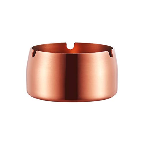 NewKelly Round Design Stainless Steel High Temperature Resistant Drop Resistant Ashtray Large Capicity (Rose Gold)