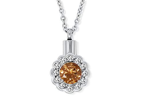 SmartChoice Keepsake Rhinestone Necklace Flower Pendant for Cremation Ashes with Beautiful Presentation Gift Box, Elegant Memorial Jewelry with Stainless Chain and Accessories, (Orange)