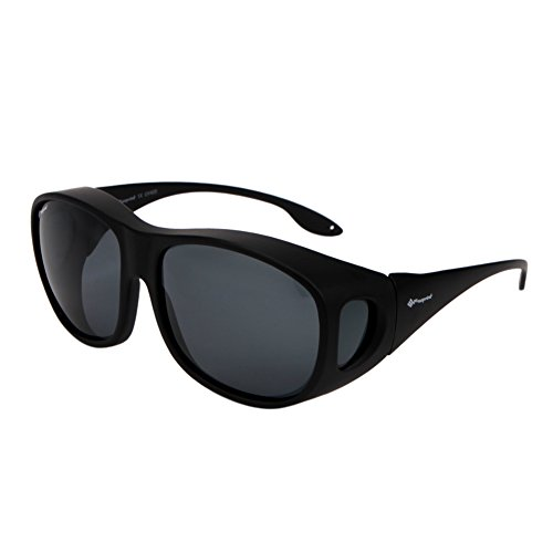 Freeprint Polarized Solar Shield Fit Over Glasses Driving Sunglasses for Men and Women, Black