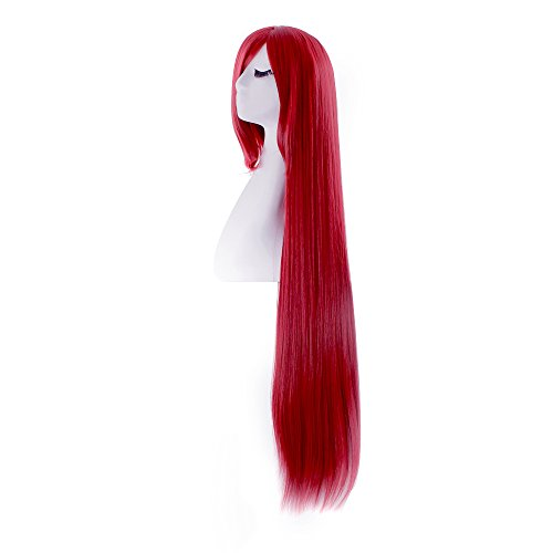 """MapofBeauty 40"""" 100cm Dark Red Long Straight Cosplay Costume Wig Fashion Party Wig"""