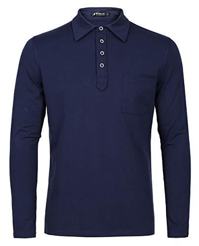 Musen Men Long Sleeve Polo Shirts Cotton Classic Fit T-Shirt Navy Blue S -