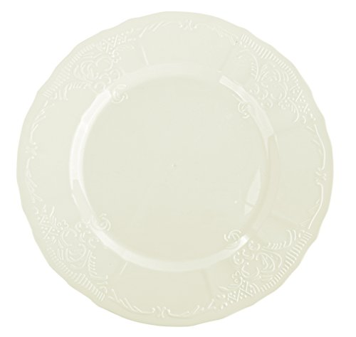 Disposable Wedding Plates with Embossed Flowers Design - Real China Look Plastic Dinnerware Party Plates, Hard and Reusable (18 Piece Pack - Ivory - Scalloped, 10 Inch Round)