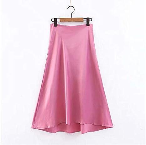 DQHXGSKS Para Mujer de imitación de Seda Falda Rosa Moda Cintura ...