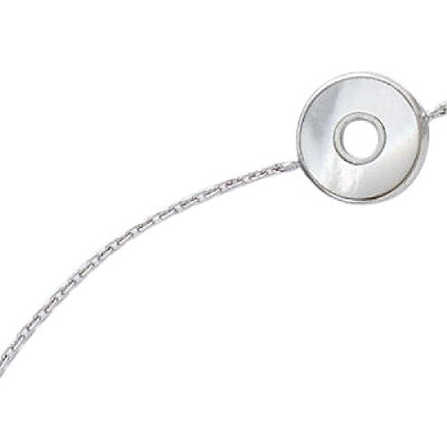 (So Chic Jewels - 925 Sterling Silver White Mother of Pearl Disc Target Chain Bracelet - Length 16+1+1 cm)