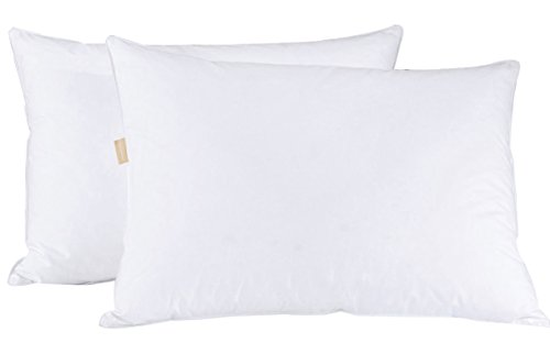 (puredown Goose Feather Pillow Set of 2 White Standard/Queen Size)