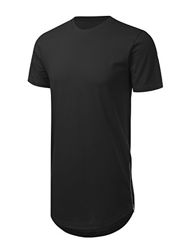 - JD Apparel Mens Hipster Hip Hop T-Shirt with Side Zipper Trim 3XL Black
