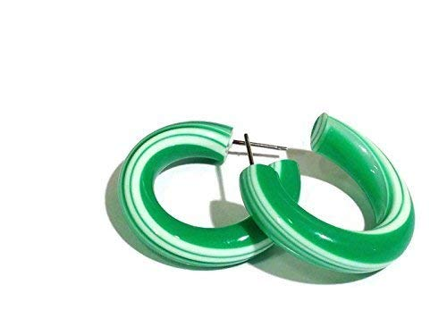 (Green Hoop Earrings | Green Candy Stripe Vintage Lucite Tube Hoops)