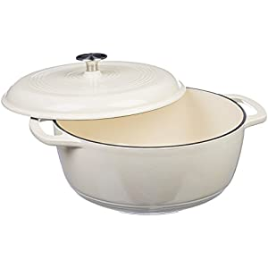 Amazon Basics Enameled Cast Iron Covered Dutch Oven, 6-Quart, White