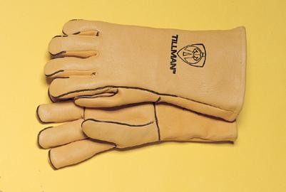 Tillman Large 14'' Gold Top Grain Elkskin Wool Lined Super Premium Grade Stick Welders Gloves With Straight Thumb, Welted Finger And Kevlar® Lock Stitching (Carded)