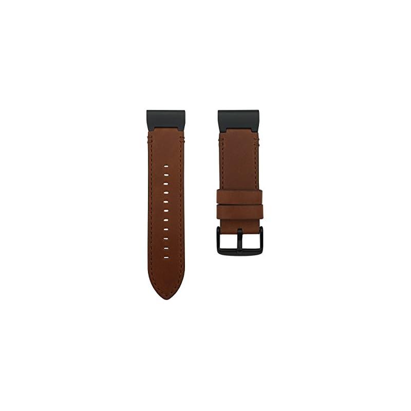 LDFAS Leather Band Compatible Fenix 5X Plus Band, Genuine Leather 26mm Quick Release Easy Fit Watch Strap Compatible Garmin Fenix 5X/5X Plus/3/3 HR/Descent Mk1 Smartwatch, Brown/Black