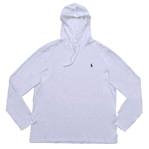 Polo Ralph Lauren Mens Jersey Knit Hoodie Tee (Small, White)