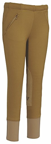 (TuffRider Kid's Unifleece Pull-On Stretch Fleece Knee Patch Breeches, Sand, 14 )