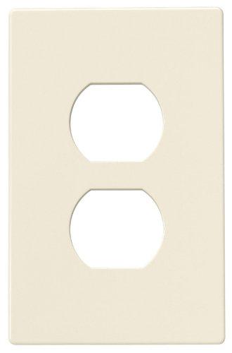 Eaton PJS8LA Polycarbonate 1-Gang Screwless Duplex Receptacle Mid Size Wall Plate, Light Almond ()