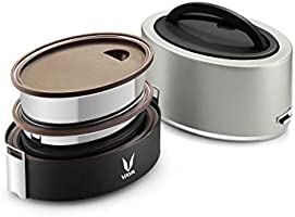 Vaya Tyffyn Silver Polished Stainless Steel Lunch Box Witho