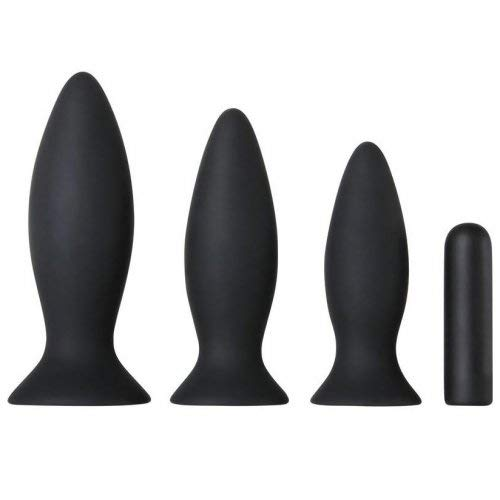 Adam and Eve Rechargeable Vibrating Anal Training Kit - Black