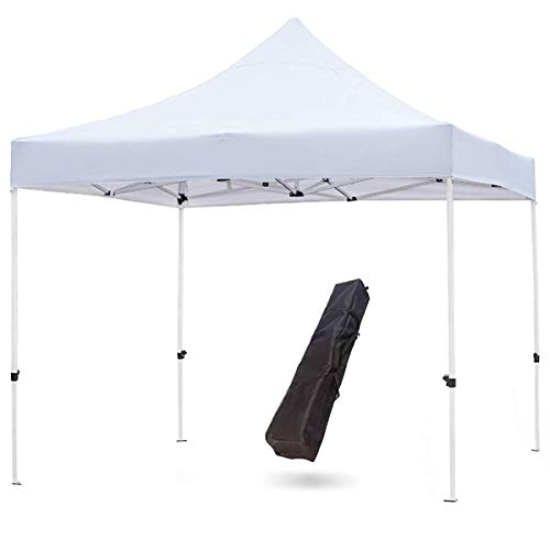 Snail Commercial Grade 10'x10' Outdoor Easy Pop Up Canopy Tent with Heavy Duty Aluminum Straight Leg and 420D Waterproof Top, Portable Event Party Shade Shelter with Carry Bag, White