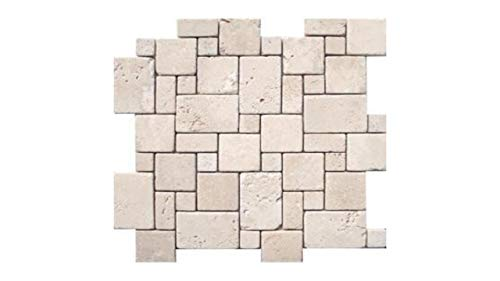 MS International 12 In. x 12 In. Ivory Mini Versaille Pattern Travertine Mosaic Floor & Wall Tile - Single Sheet Sample - SAMPLE LISTING - ONLY ONE ALLOWED PER -