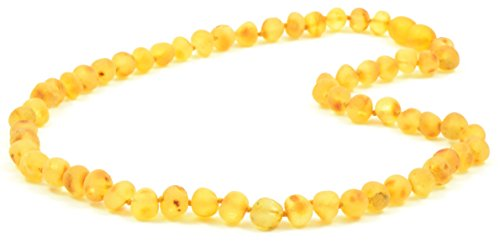 Raw Amber Necklace for Adults - Lemon Color - 17.7 Inches - Baltic Amber Land - Hand-made From Unpolished / Certified Baltic Amber Beads - Knotted - Screw Clasp (Lemon) ()