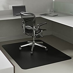 Deflecto EconoMat Black Chair Mat, Low Pile Carpet Use, Rectangle, Straight Edge, 46 x 60 Inches (CM11442FBLKCOM)