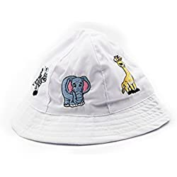 Sun Protection - Child Safari, Animal, Sun Bucket Hat. (White) - Play Kreative TM